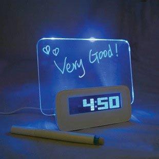 Glow Message Board - Hzsmile Creative Erasable Memo Board Fluorescent light message board LED Digital Alarm Clock USB 5 Port Hub With Thermometer Calendar Snooze Gift(Blue)