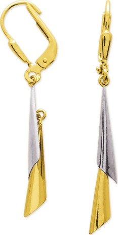 SHIRIN - Boucles d'oreilles Pendantes - Or Bicolore 18 carat - Systèmes Dormeuses - www.diamants-perles.com