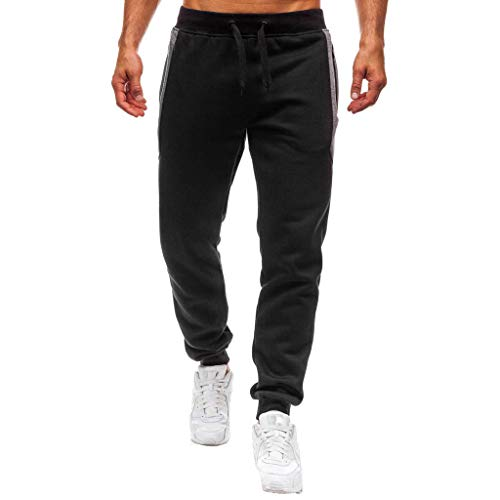 OWMEOT Pants, Men's Gym Joggers Pants Fitness Casual Slim Fit Workout Sweatpants (Black, L)