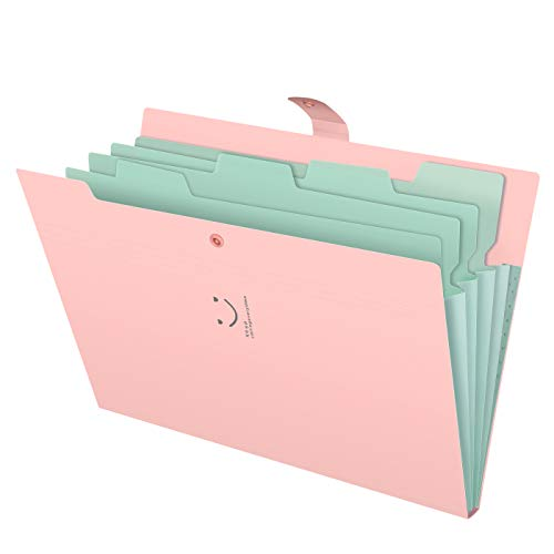 Skydue Letter A4 Paper Expanding File Folder Pockets Accordion Document Organizer (Pink) ()