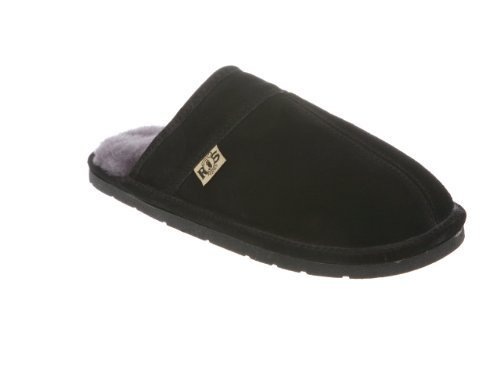 RJ's Fuzzies Mens Sheepskin Leather Lined Scuff Slippers ...