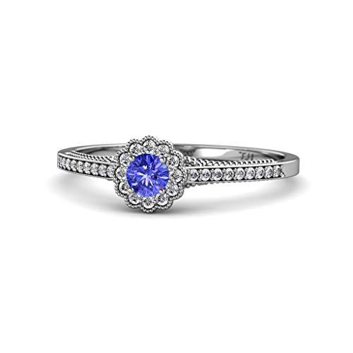 - TriJewels Round Tanzanite & Diamond Womens Flower Halo Promise Ring 0.50 ctw 14K White Gold.size 7.75