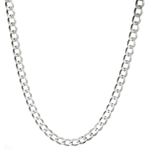 (Solid 925 Sterling Silver Men's Heavy Italian 8mm Cuban Curb Link Chain Necklace -)