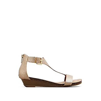 Kenneth Cole Reaction Women's Great Gal T-Strap Wedge, Soft Gold, 5 M US
