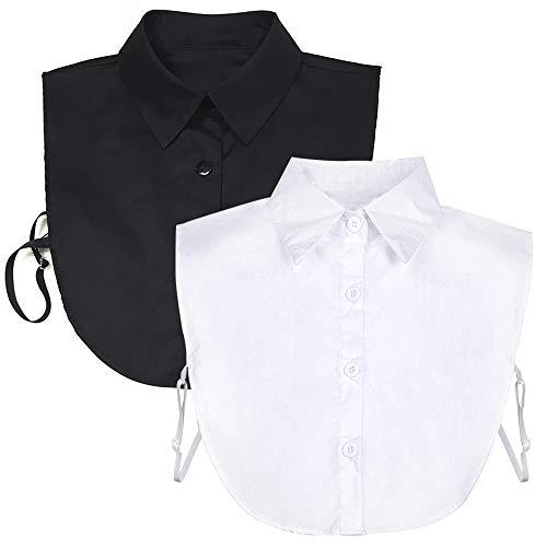kayhan Fake Collar Detachable Dickey Collar Blouse Half Shirts Peter Pan Faux False Collar for Women & Girls Favors (White & Black)