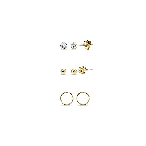 3 Pairs 14K Gold Unisex 10mm Mini Small Continuous Endless Hoops, Tiny Round 2mm CZ & Ball Bead Stud Earrings Set ()