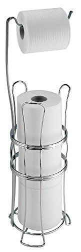 mDesign Free Standing Toilet Paper Roll Holder for Bathroom Storage - Chrome (Chrome Toilet Paper Caddy)