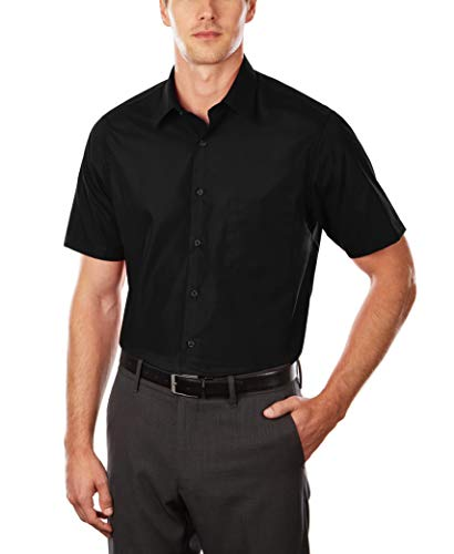 Van Heusen Men's Short Sleeve Dress Shirt Regular Fit Poplin Solid