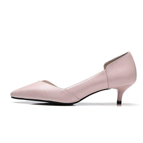 La Mujer Señaló Solo Zapatos de Tacón bajo de Boca Superficial Simple Multa con Pink