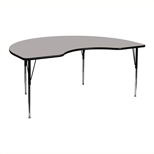 Bowery Hill 25.25''Hx96''W Kidney Shaped Activity Table in Grey by BOWERY HILL (Image #2)