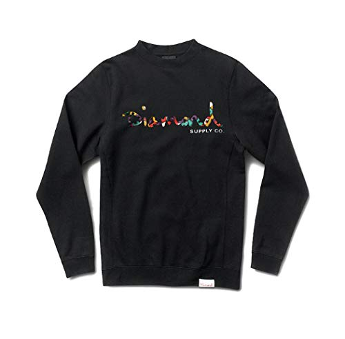 Diamond Supply Co. Men's Script Fasten Crewneck Sweatshirt (Black, S)