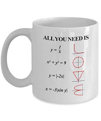 All You Need Is Love Analytic Geometry Equations & Graphs Mathematical Themed Coffee & Tea Gift Mug Cup For Engineer, Engineering Student, Algebra Teacher, Mathematics Genius, Math Nerd & Geek (11oz)