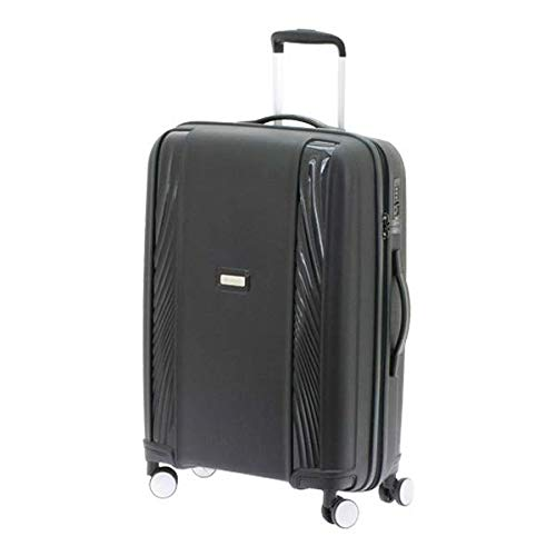 スーツケース mサイズ 57l ブラック キャリーケース キャリーバッグ ビジネス 出張 旅行 ハードスーツケース キャビンケース メンズ レディース ヨーロッパブランド DAVIDTS/デイビット Virguleシリーズ ブラック B07JW79256