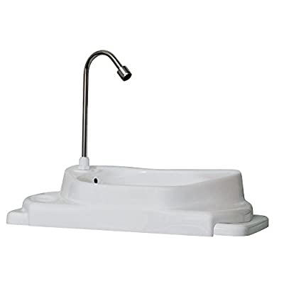 SinkPositive Touch-Free Water/Space Saving Adjustable Toilet Tank Retrofit Sink/Faucet Basin White