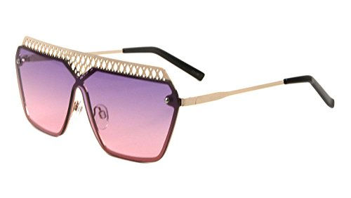 Womens Metal Mesh Grill Frame Flat Top Shield Sunglasses (Gold Frame, Purple & Pink - And Sunglasses Gold Purple