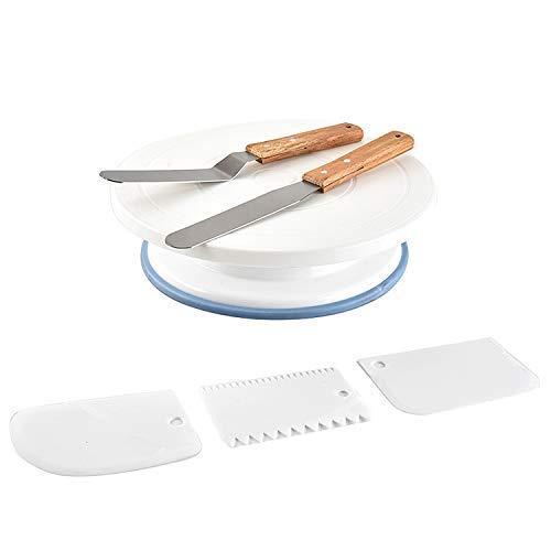 Tocadiscos giratorio para tartas con 2 paletas de cuchillos en ...
