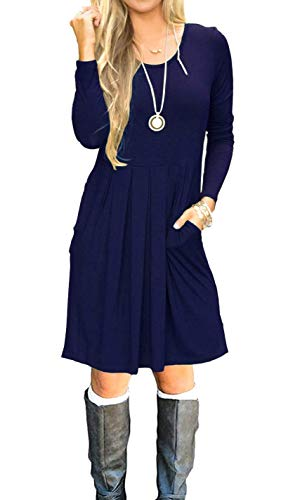 (AUSELILY Women's Long Sleeve Pleated Loose Swing Casual Dress with Pockets Knee Length Navy Blue S)