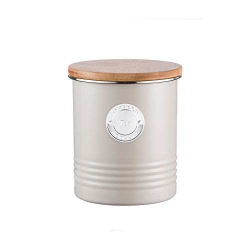 Typhoon Living Putty Tea Canister, Airtight Bamboo Lid, Durable Carbon Steel Design with a Hard-wearing Matte Coating, 33-3/4-Fluid Ounces