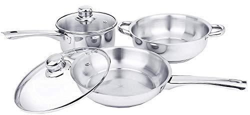 iLife Deluxe Stainless Steel Gas Compatible Induction Base Casserole 5 Piece Cookware Set includes Pots and Pans Chrome…