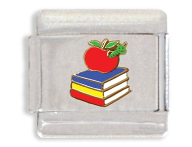 Clearly Charming Stack of Books with Apple Italian Charm Bracelet Link