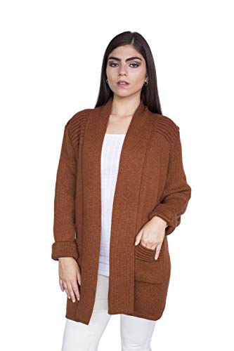 Raymis Peruvian Women´s Hand Knit Alpaca California Cardigan Sweater (Brown)