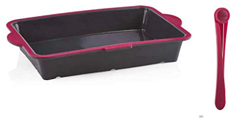 Trudeau Structure Silicone Pro Oblong Baking Pan, 9 x 13, Grey/Pink PLUS a Trudeau Cake Tester