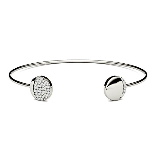 (Forever One White Silver Round Moissanite Cluster Cuff Bracelet by Charles &)