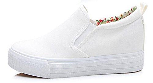 Satuki Volwassen Dames Pull-on Op Verborgen Hiel Wig Casual Canvas Schoenen Mode Sneakers Wit