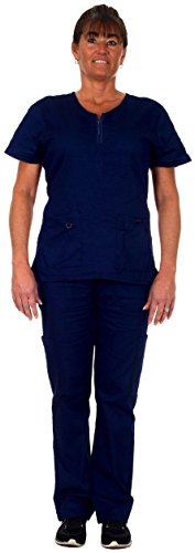 Women's Scrub Set 2 Pocket Top and 4 Pocket Cargo Pant -#1113 (Large, Navy)