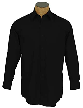 Men's Solid Color Cotton Blend Dress Shirt - Black 14.5 32-33