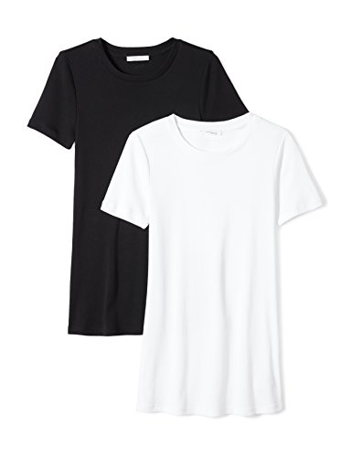 Midweight 100% Supima Cotton Rib Knit Short-Sleeve Crew Neck T-Shirt, 2-Pack, XXL, Black/White (100% Cotton Womens Tee)