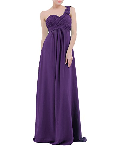 (YiZYiF Chiffon Applique One Shoulder Long Bridesmaids Party Dress Purple 14)