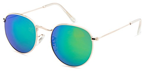 Stylle Round Unisex Sunglasses - Gold Metal Frame with Green Mirror - Sunglasses Lens Gold Mirror