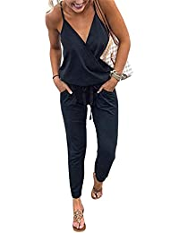 33e84fd218f4 Women s V Neck Spaghetti Strap Drawstring Waisted Long Pants Jumpsuit  Rompers