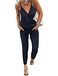 85457e91ae ECOWISH Women s V Neck Spaghetti Strap Drawstring Waisted Long Pants  Jumpsuit Rompers