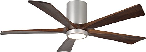 """Matthews IR5HLK-BN-WA-52 Irene 52"""" Outdoor Hugger Ceiling Fan with LED Light and Remote & Wall Control, 5 Wood Blades, Brushed Nickel"""