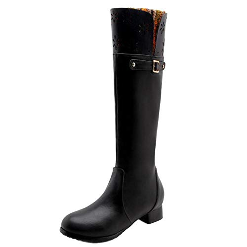 Heel Long Boots Shoes Black Low Women Comfort Taoffen xqw6FOHO