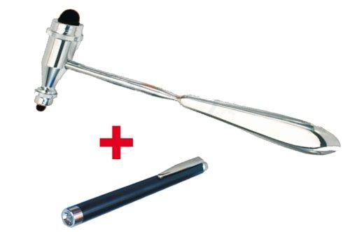 Reflexhammer Perkussionshammer Typ Trömner 25cm + Hochwertige KaWe Diagnostikleuchte Cliplight schwarz