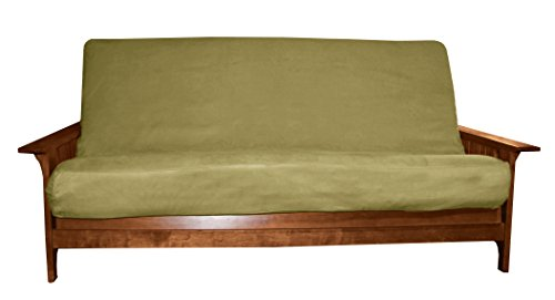 Better Fit Machine Washable Upholstery Grade Futon Cover , Full 6-Inch-size, Microfiber Suede Celery Green