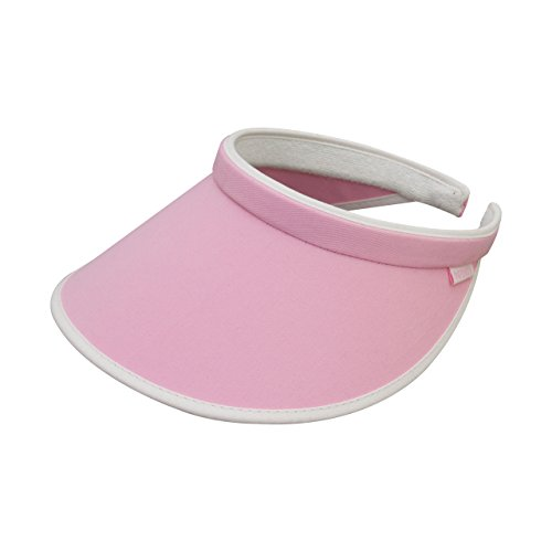 Clip On Visor (Women's Brushed Cotton Clip-On Visor-4129-PINK-WT)