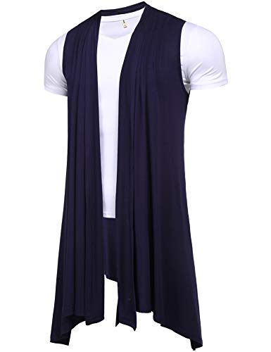 Pacinoble Men's Sleeveless Shawl Longline Cardigan Draped Lightweight Open Front Cotton Ruffle Shawl Collar Coat Navy ()