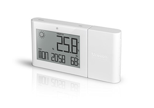 (OREAV BAR266/BLRW Oregon Scientific Weather Forecaster Indoor/Outdoor Thermometer with Indoor Humidity Atomic Clock, White)