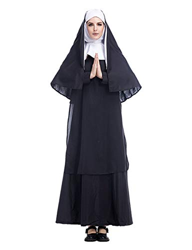 GRACIN Women's Nun Costume Cosplay, 2 PCS Mother Roleplay Dress for Halloween (Size XL, Black) -