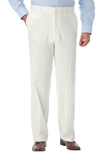 Kings' Court Men's Big & Tall Linen Blend Plain Front Pants, White Big-4438 (Mens White Dress Pants Tall)