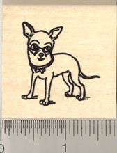 Cute Chihuahua Rubber Stamp - Wood Mounted