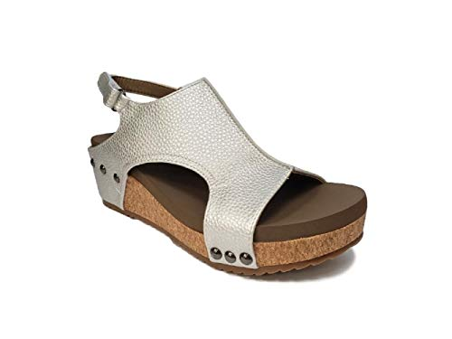 Corkys Footwear Womens Platform Strap Pump(Volta Silver,10 M US) ()