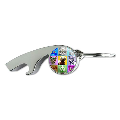 (American Fido Dogs Sunglasses Rainbow Retro Vintage Chrome Plated Metal Whistle Bottle Opener Keychain Key)