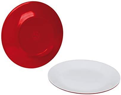Moritz Set de vaisselle en mélamine pour camping 4 personnes avec design 2 couleurs et 4 verres à jus Transparent + 1 chiffon en microfibre 4 couleurs