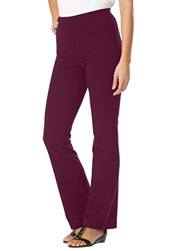 Women's Plus Size Pants, Boot-Cut In Ponte Knit Midnight Berry,20 W