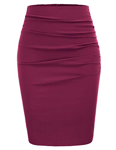 GRACE KARIN Women Elegant Ruched Business Party Pencil Skirt Size M,Wine Red